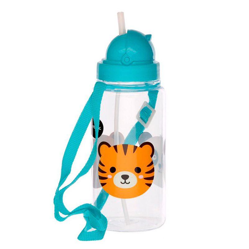 Botella de agua infantil, plástico, con pajita, animales adorables, 450ml botella infantil animales adorables 450