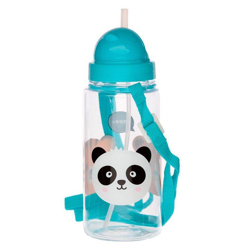 Botella de agua infantil, plástico, con pajita, animales adorables, 450ml botella infantil animales adorables 450 2