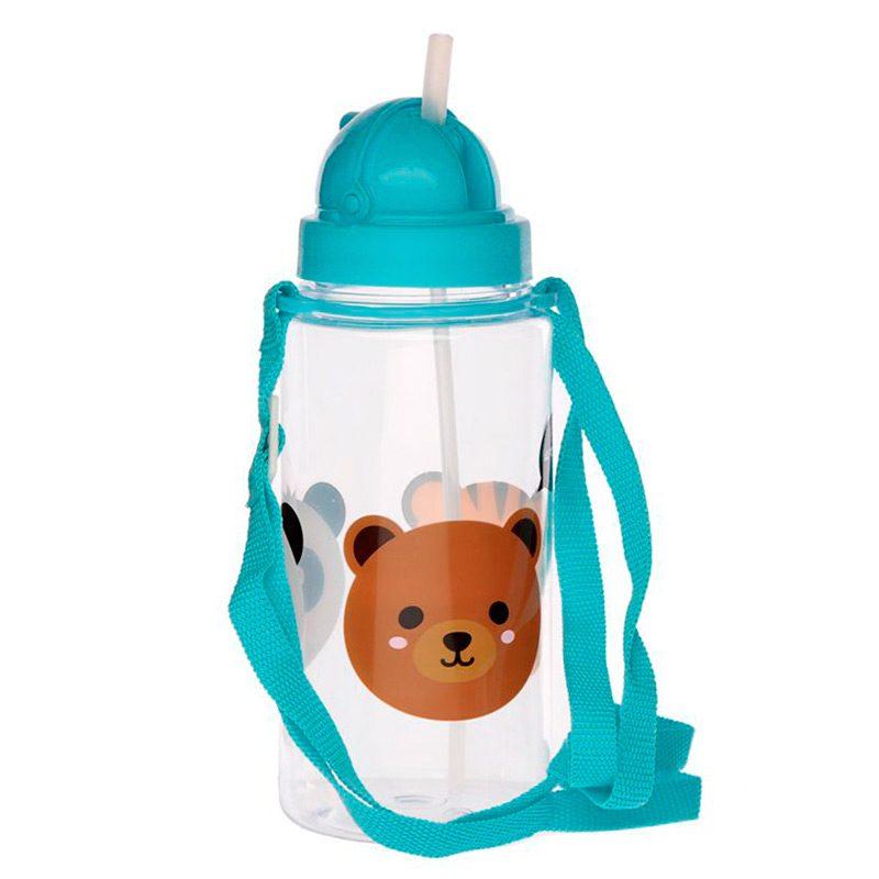 Botella de agua infantil, plástico, con pajita, animales adorables, 450ml botella infantil animales adorables 450 3