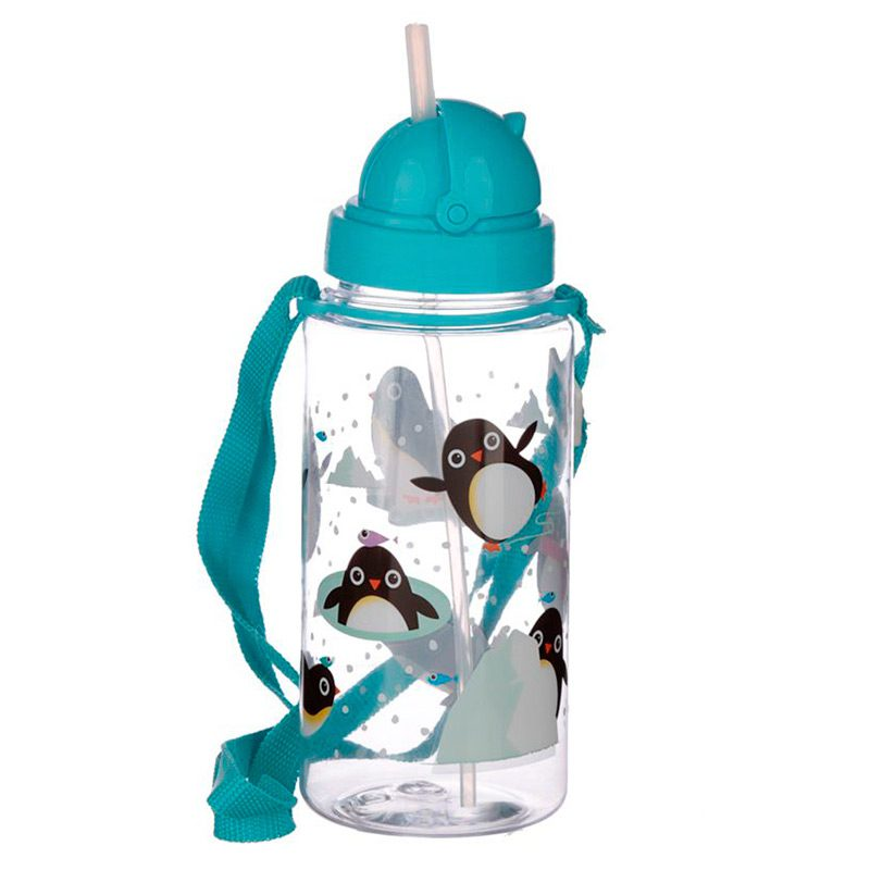 Botella de agua infantil, plástico, con pajita, pinguinos, 450ml botella infantil pinguino 450