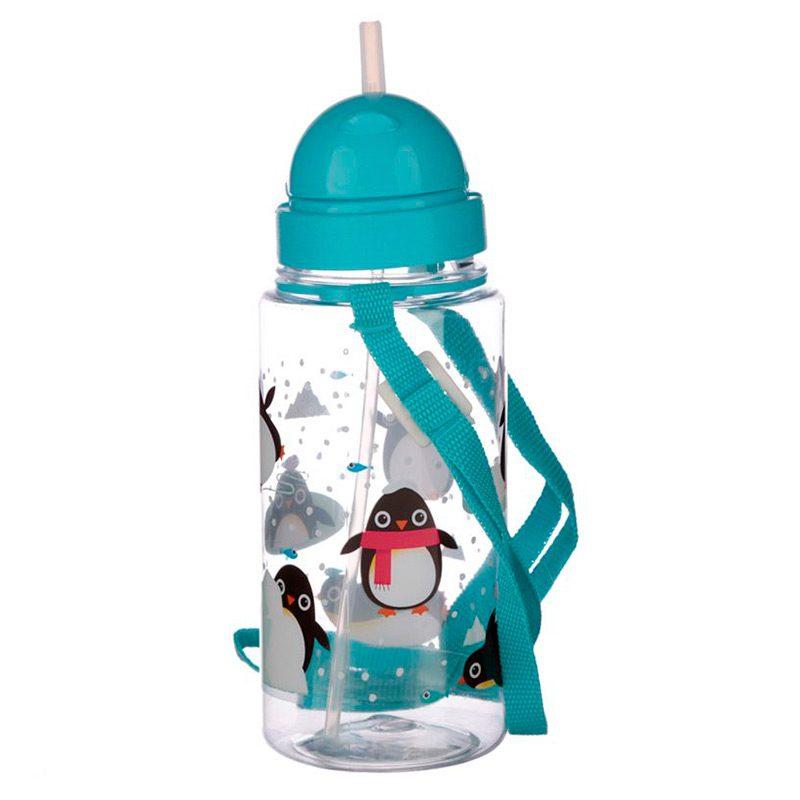 Botella de agua infantil, plástico, con pajita, pinguinos, 450ml botella infantil pinguino 450 2