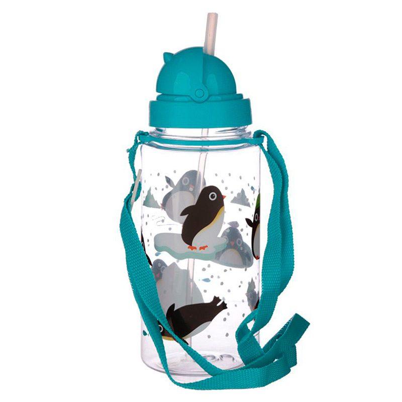 Botella de agua infantil, plástico, con pajita, pinguinos, 450ml botella infantil pinguino 450 3