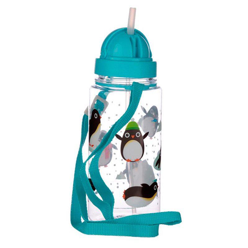 Botella de agua infantil, plástico, con pajita, pinguinos, 450ml botella infantil pinguino 450 4