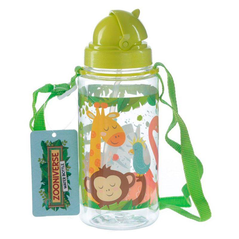 Botella de agua infantil, plástico, con pajita, selva, 450ml botella infantil selva 450