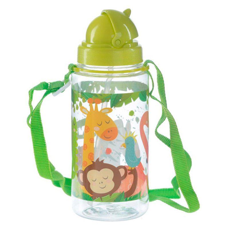 Botella de agua infantil, plástico, con pajita, selva, 450ml botella infantil selva 450 2