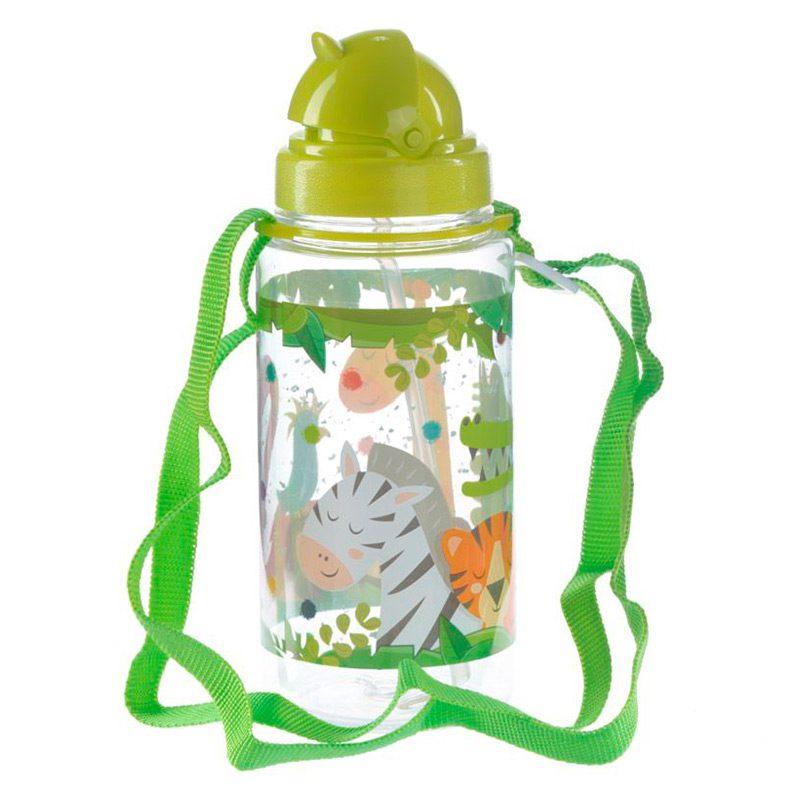 Botella de agua infantil, plástico, con pajita, selva, 450ml botella infantil selva 450 4