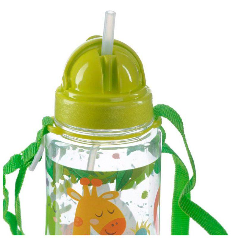 Botella de agua infantil, plástico, con pajita, selva, 450ml botella infantil selva 450 7