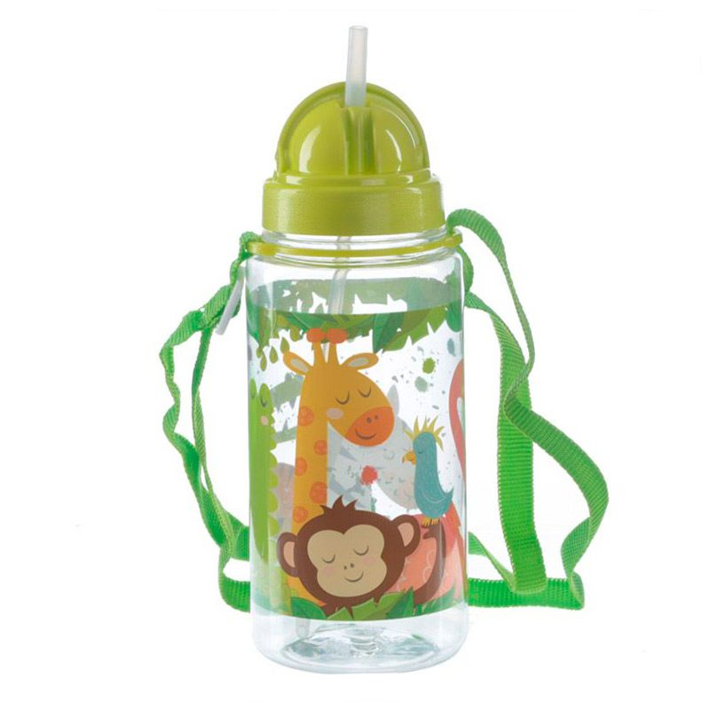 Botella de agua infantil, plástico, con pajita, selva, 450ml botella infantil selva 450 8