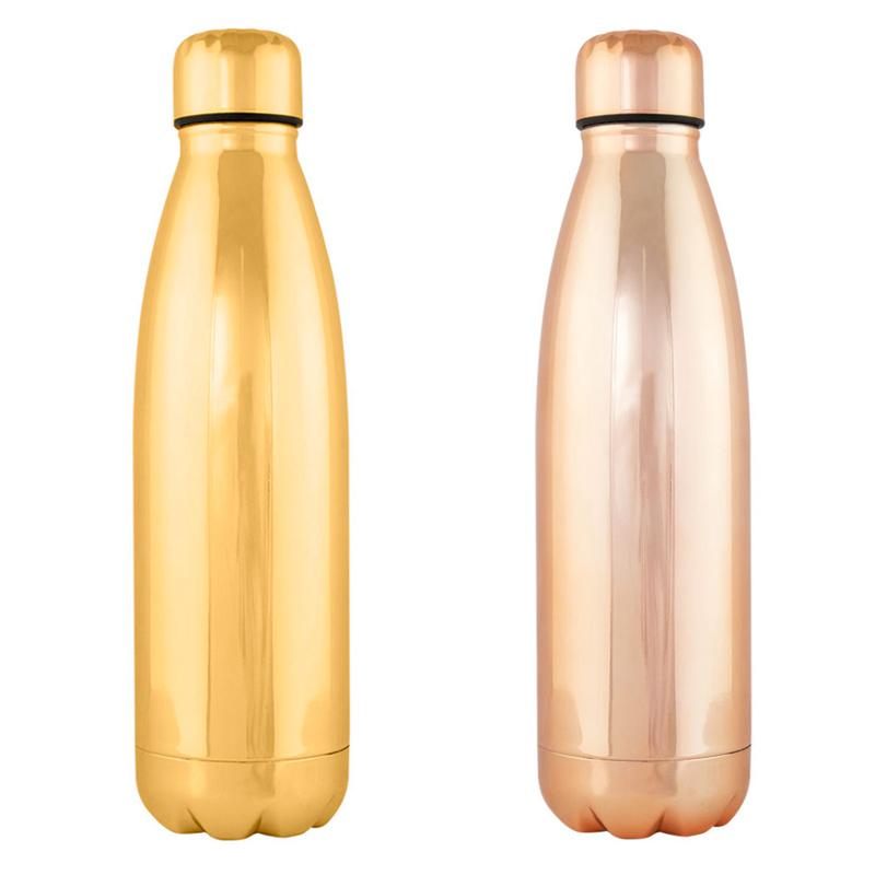 Botella premium H2O, dos colores, 750ml, acabado brillante botella moda regalo boda acero dos