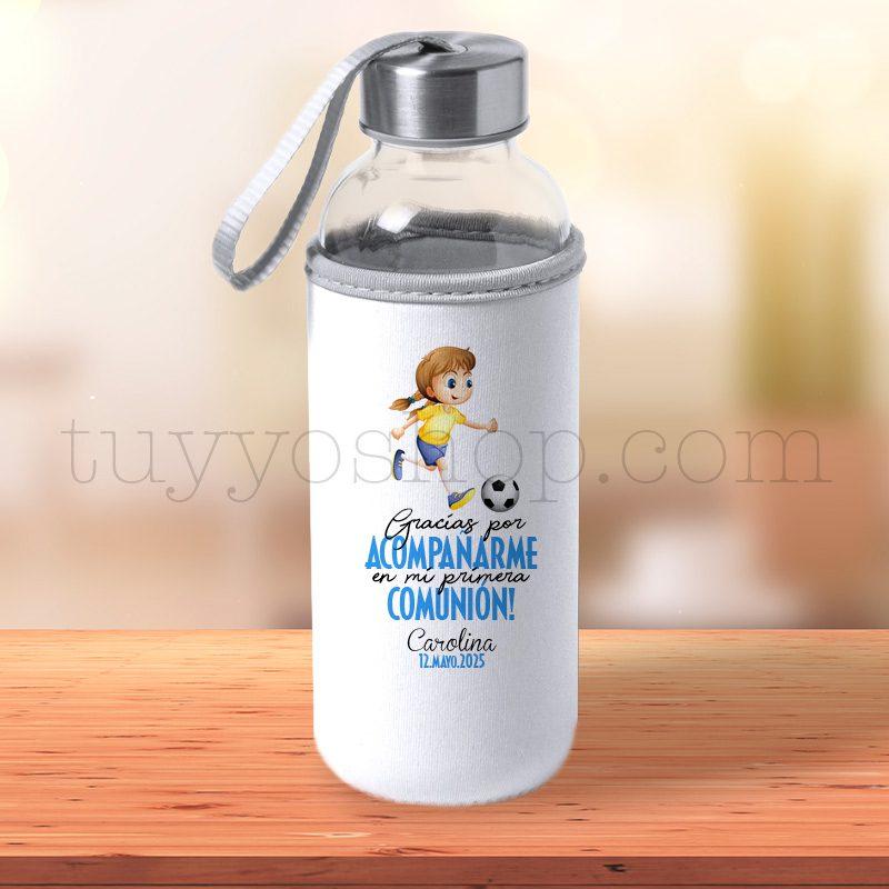 Ultimos regalos para invitados añadidos botella personalizada comunion chica futbol