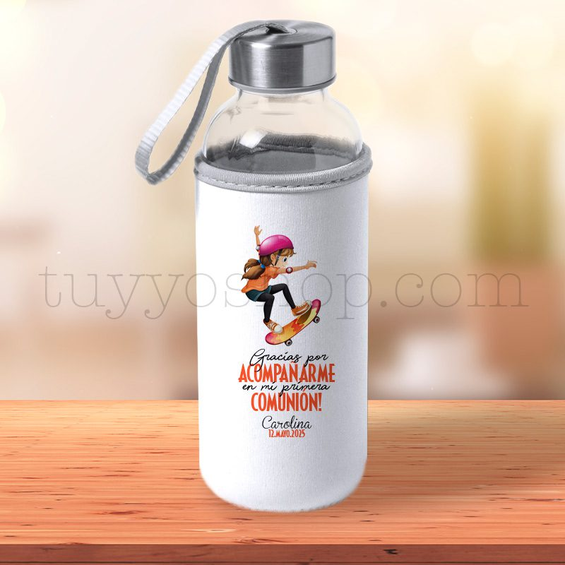Black Friday 2019 botella personalizada comunion chica patin