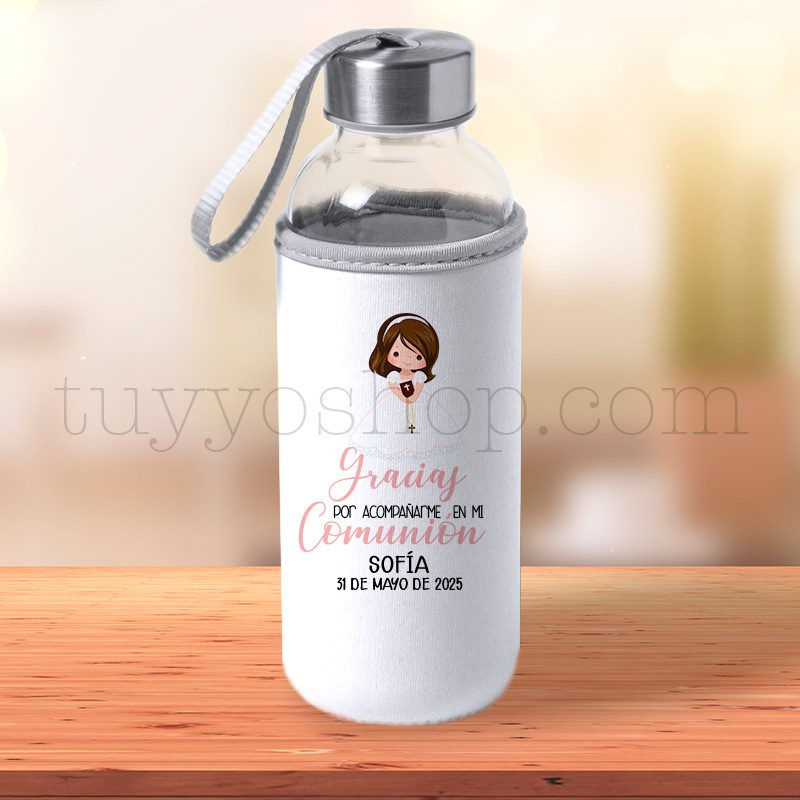 Black Friday 2019 botella personalizada comunion chica pelo marron
