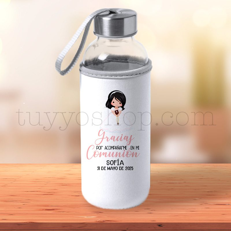 Black Friday 2019 botella personalizada comunion chica pelo negro
