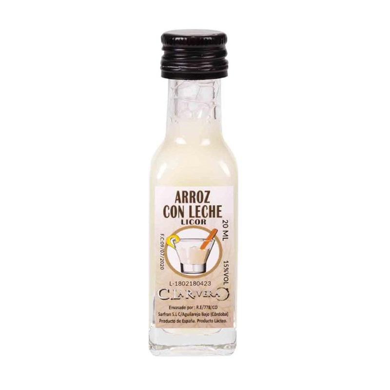 Licor en botellita de cristal. Sabor Arroz con leche. La Rivera. 20ml.