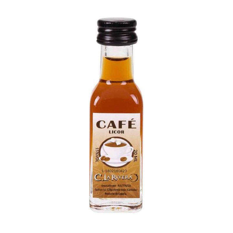Licor en botellita de cristal. Sabor Café. La Rivera. 20ml.