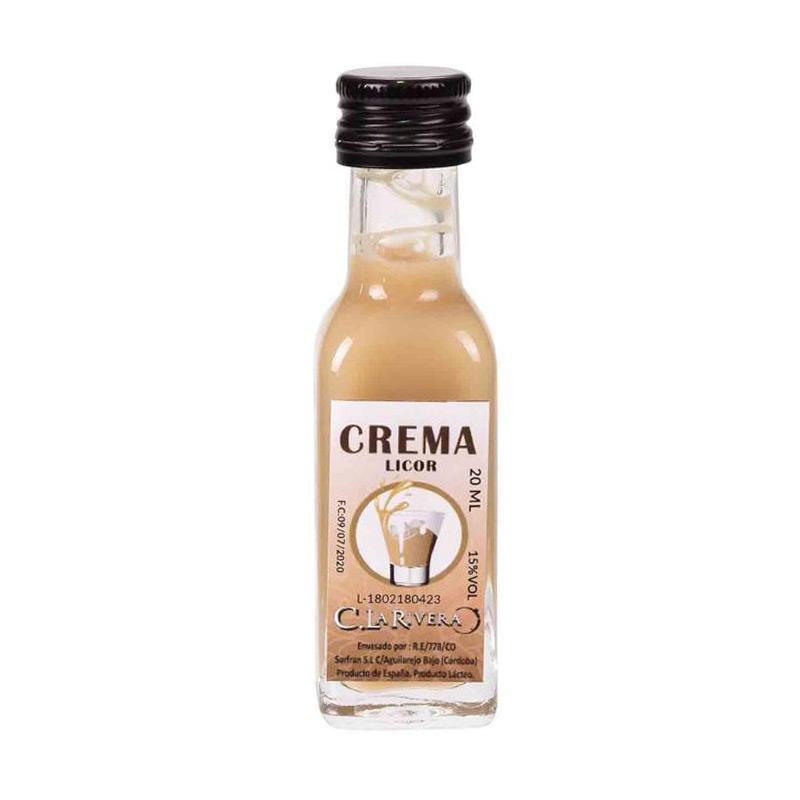 Licor en botellita de cristal. Sabor Crema. La Rivera. 20ml.