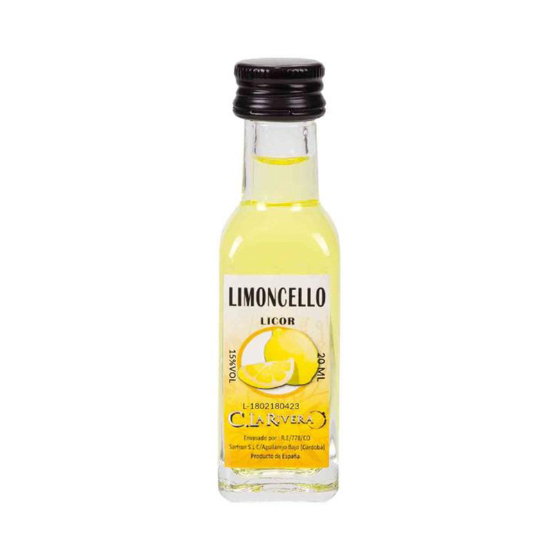 Licor en botellita de cristal. Sabor Limoncello. La Rivera. 20ml.