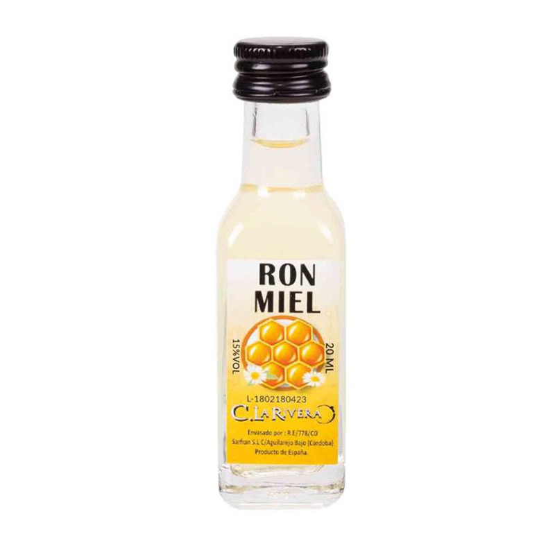 Licor en botellita de cristal. Sabor Ron y Miel. La Rivera. 20ml.
