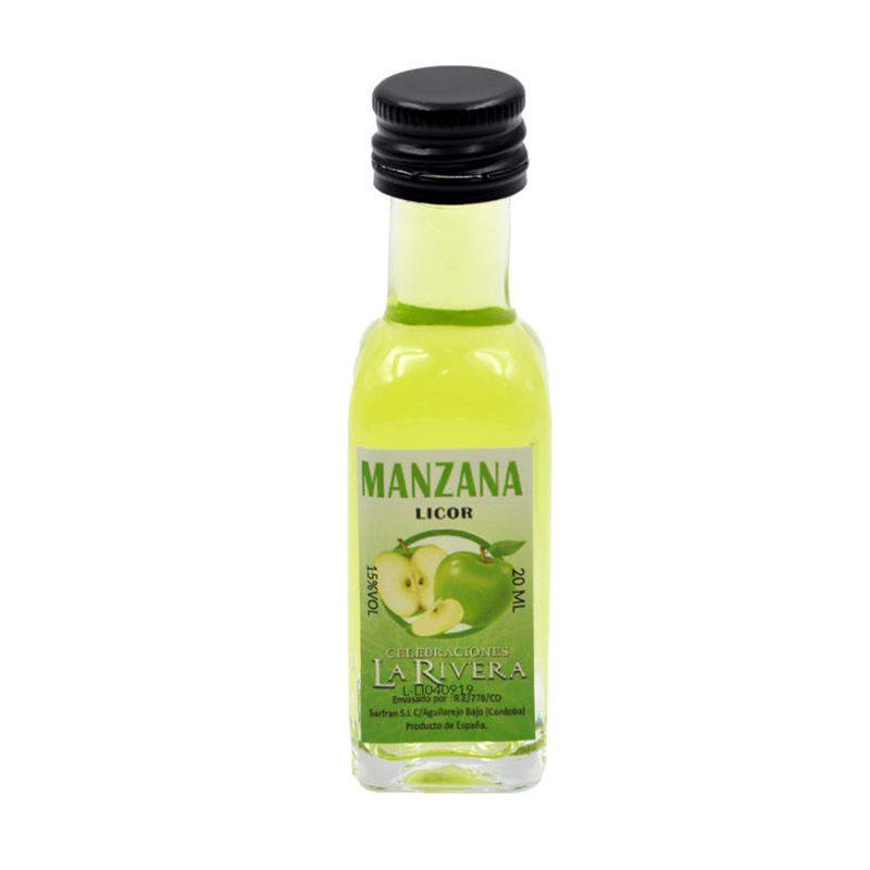 Licor en botellita de cristal. Sabor Manzana. La Rivera. 20ml.