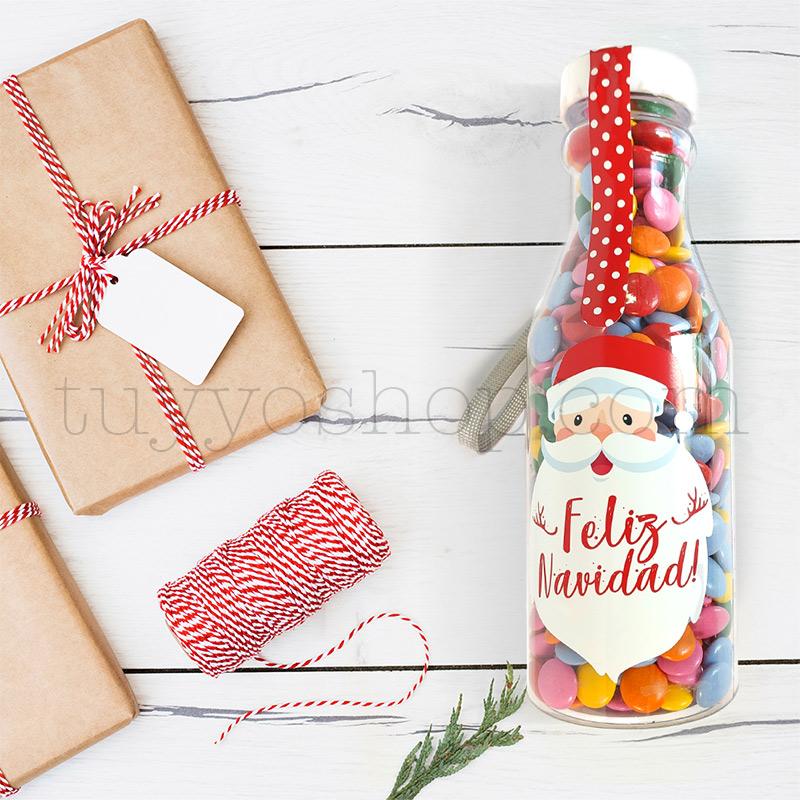 Botella de lacasitos, mensaje Feliz Navidad botellla de gominolas modelo navidad