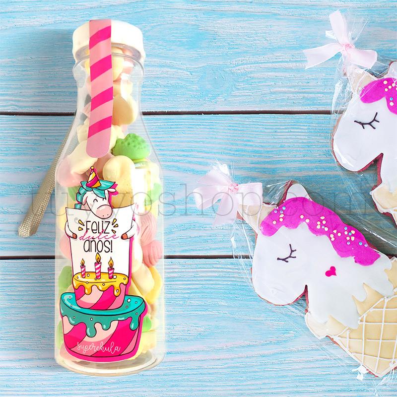 """Botella de golosinas, unicornio """"Feliz dulce años"""" botellla de gominolas modelo unicornio"""