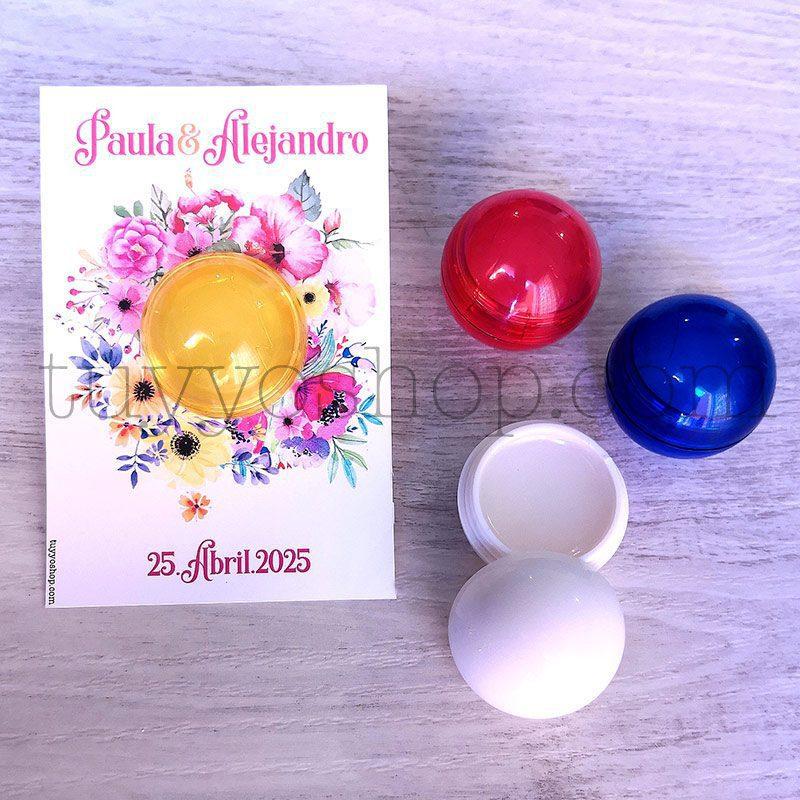 Bálsamo labial bola. Con tarjeta personalizada. Modelo primavera. 8x12cm brillo personalizado para bodas