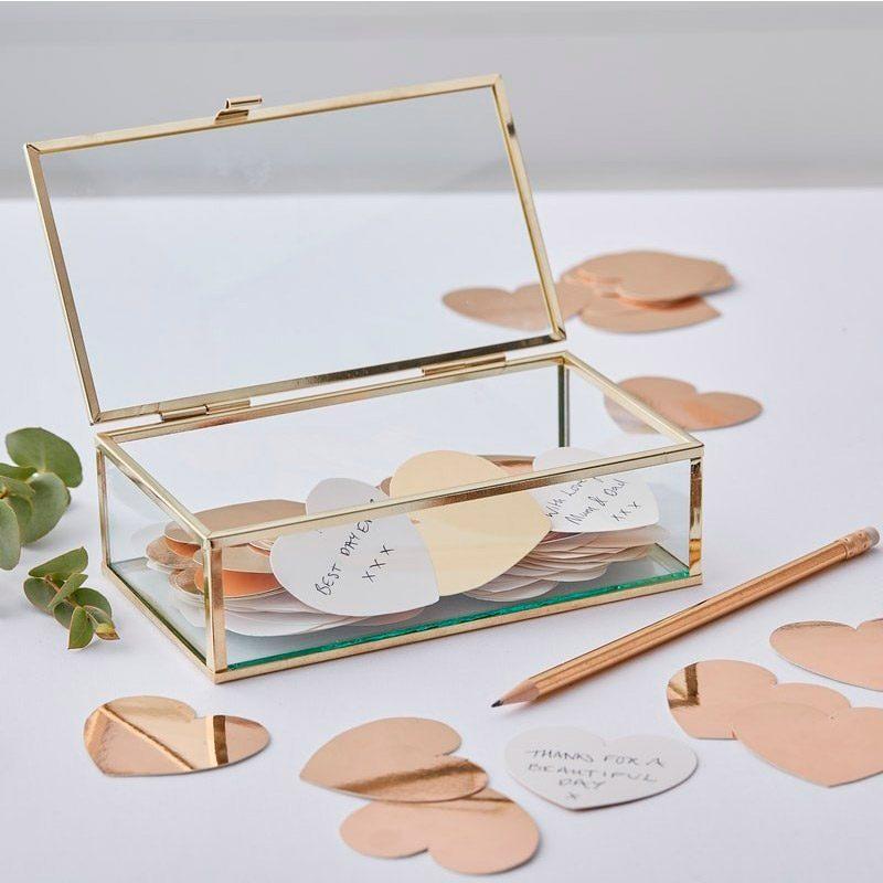 Kit cofre de cristal y corazones de buenos deseos. 160 corazones. 19x6x10cm caja cristal con corazones