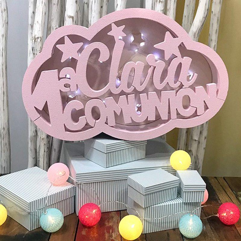 Ultimos regalos para invitados añadidos caja luz nube primera comunion