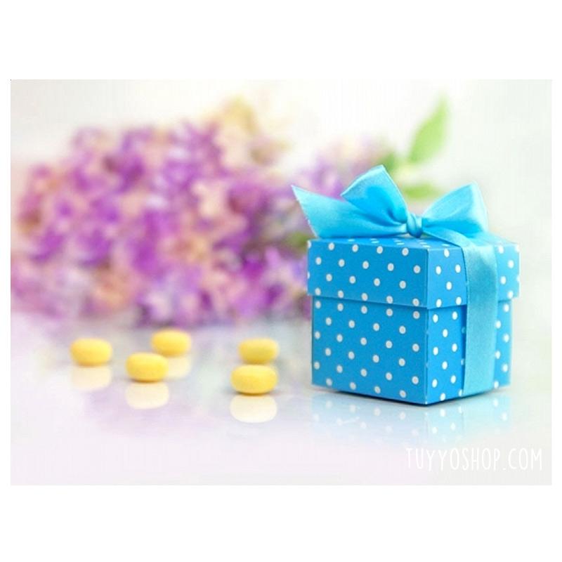 Cajita para regalo Azul con topitos y lazo