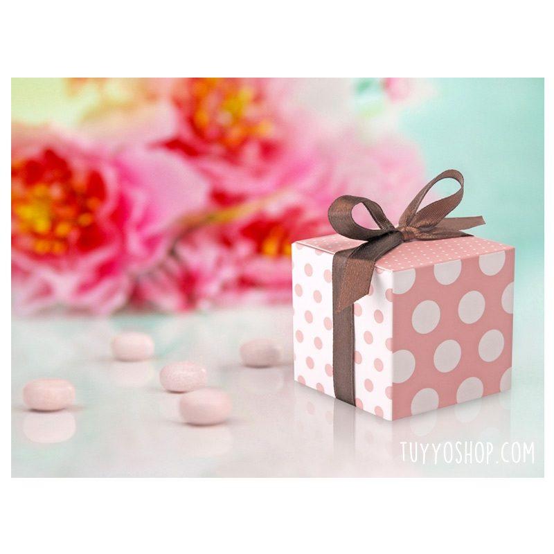 Cajita para regalo Rosa y Blanca con lazo