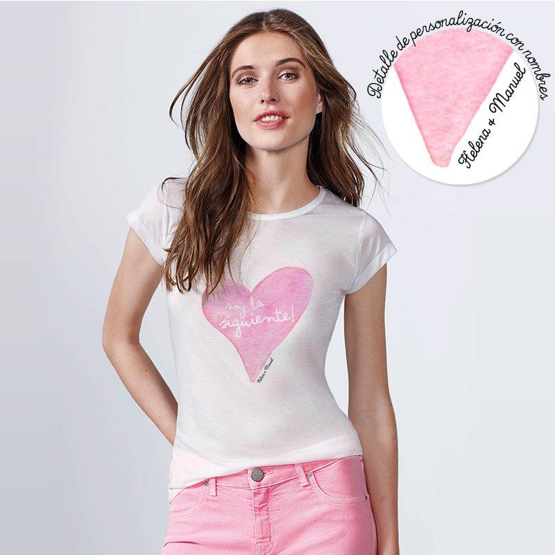 Camiseta para boda. Corazón. Personalizable. Blanca. Varias tallas.