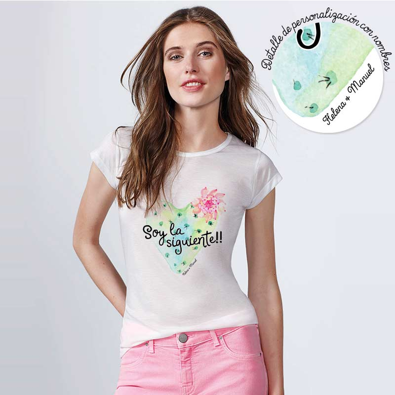 Camiseta para boda. Cactus Corazón. Personalizable. Blanca. Varias tallas.