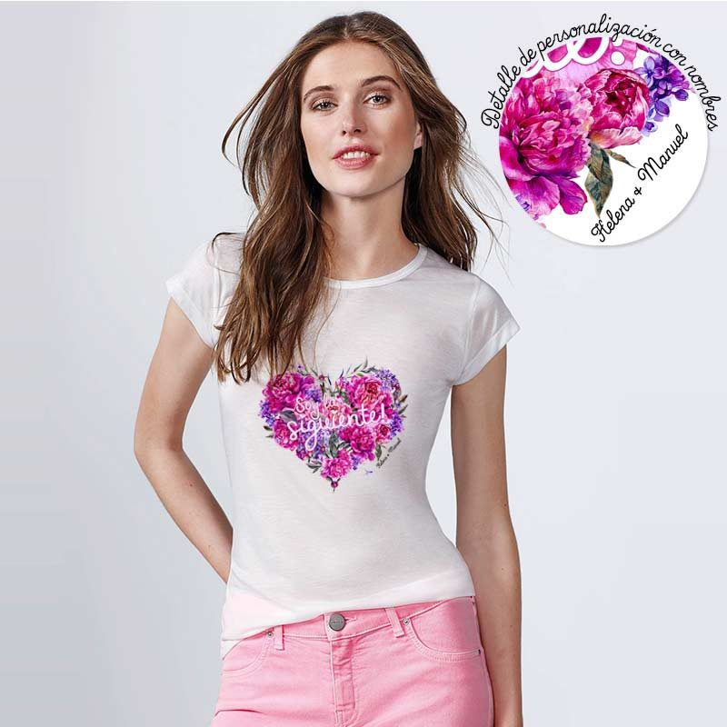 Camiseta para boda. Peonias Corazón. Personalizable. Blanca. Varias tallas.