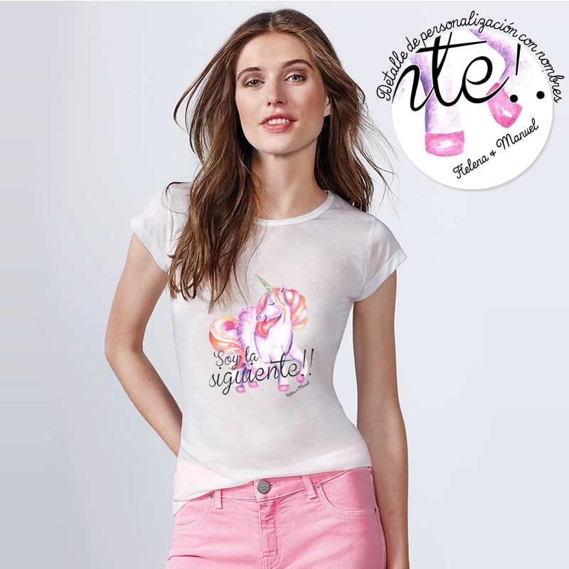 Camiseta para boda. Unicornio. Personalizable. Blanca. Varias tallas.