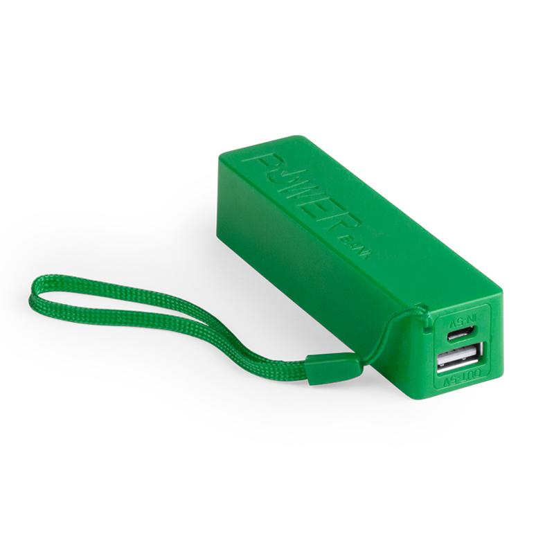 Cargador USB Power Bank clásico 2000mAh. Colores. Incluye cable.