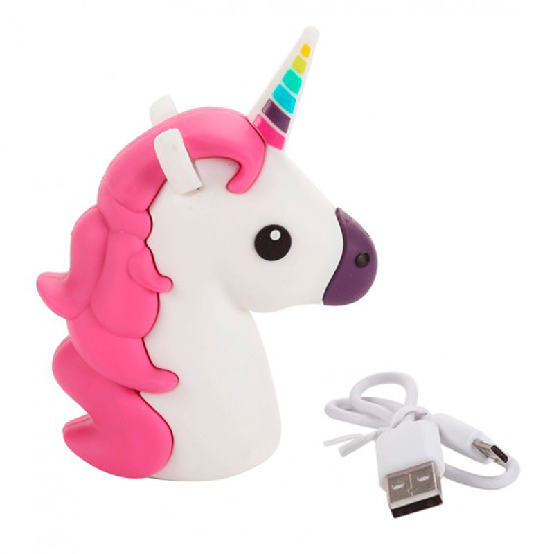 Cargador usb power bank unicornio