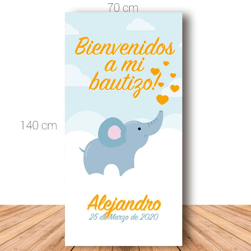 Cartel de bienvenida para bautizo. Elefantito. 70x140cm. Personalizable.