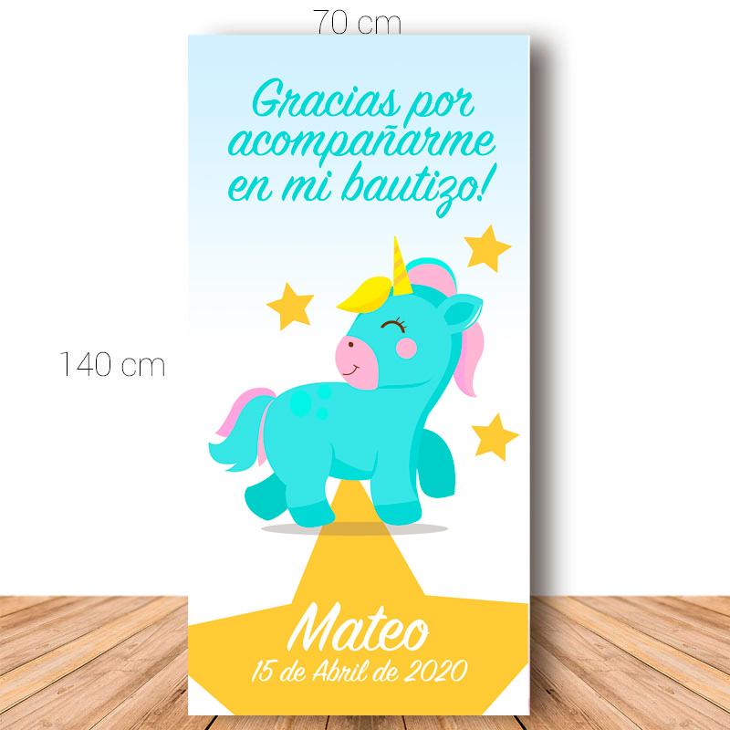 Cartel de bienvenida para bautizo. Green Unicornio. 70x140cm. Personalizable.