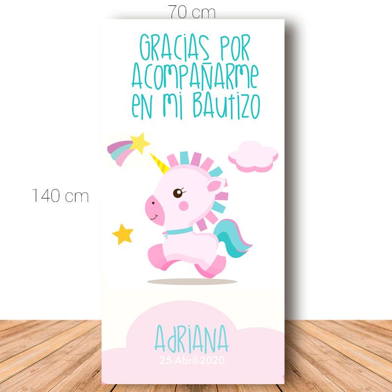 Cartel de bienvenida para bautizo. Pink unicornio. 70x140cm.