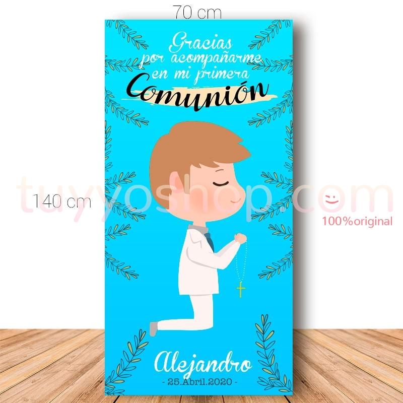 Cartel de bienvenida para comunión. 70x140cm. Modelo Alejandro