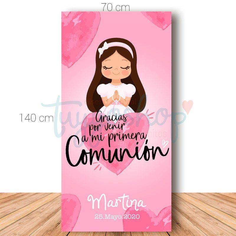 Cartel de bienvenida para comunión. 70x140cm. Modelo Corazón