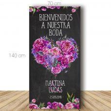 Cartel bienvenida boda. Modelo Corazón. 70x140cm. Personalizable.
