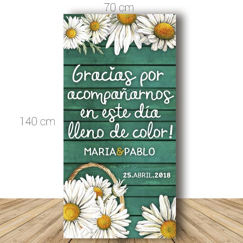 Cartel bienvenida boda. Modelo Margaritas. 70x140cm. Personalizable.
