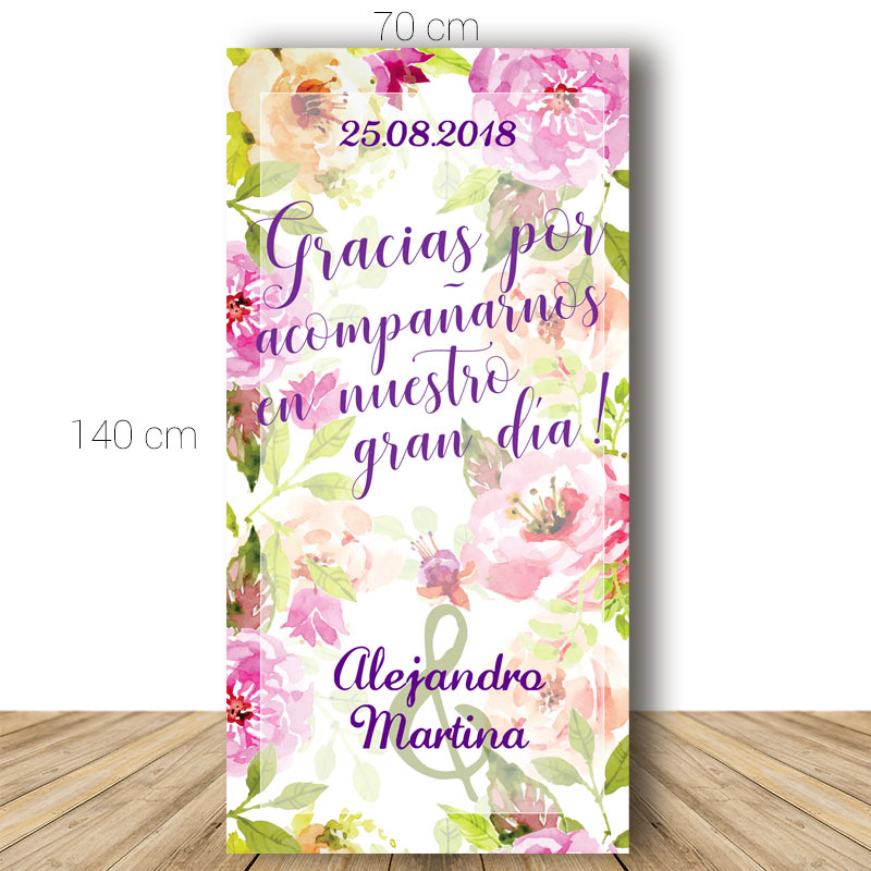 Cartel bienvenida boda. Modelo Jardín Floral. 70x140cm. Personalizable.