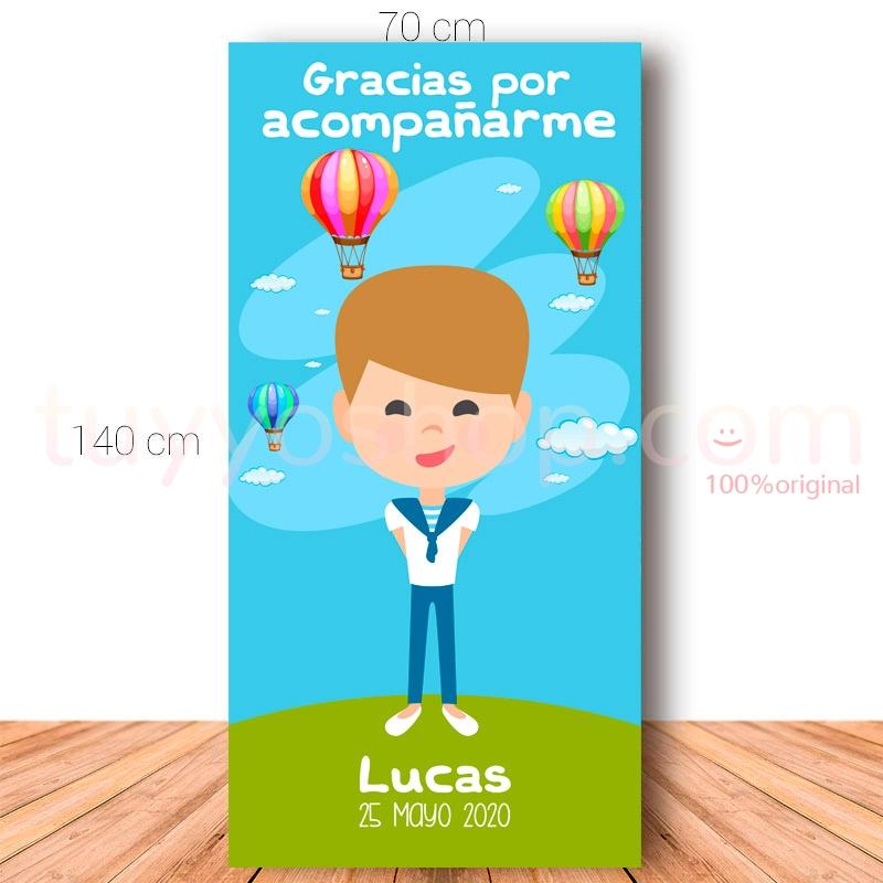 Cartel de bienvenida para comunión. 70x140cm. Modelo Lucas