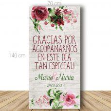 Cartel bienvenida boda. Modelo Málaga. 70x140cm. Personalizable.