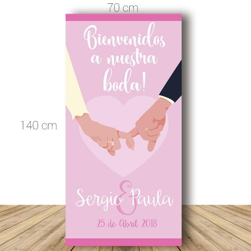 Cartel bienvenida boda. Modelo Dedos entrelazados. 70x140cm. Personalizable.