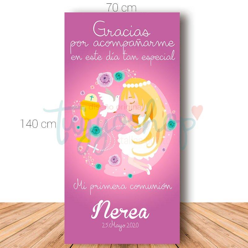 Cartel de bienvenida para comunión. 70x140cm. Modelo Nerea