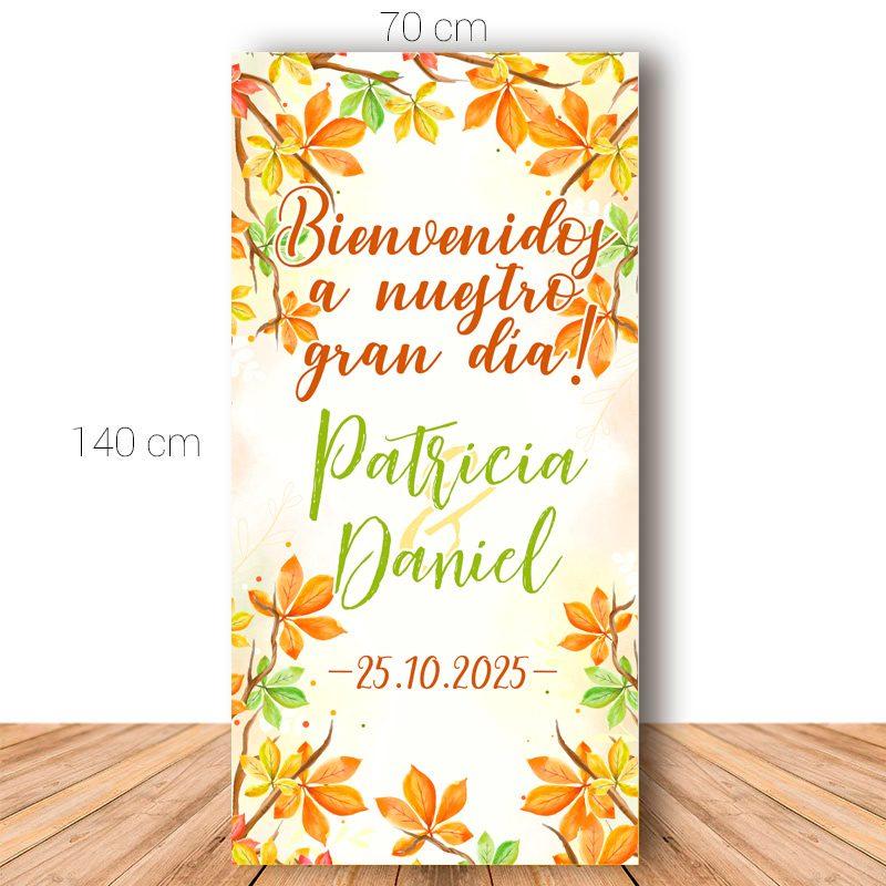 Cartel personalizado para boda. Modelo Octubre. 140x70cm cartel bienvenida boda modelo octubre