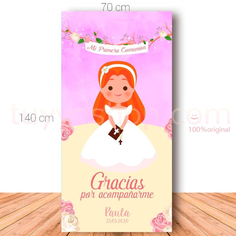 Cartel de bienvenida para comunión. 70x140cm. Modelo Paula
